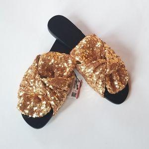 Zara bow gold sequin slide sandal flats